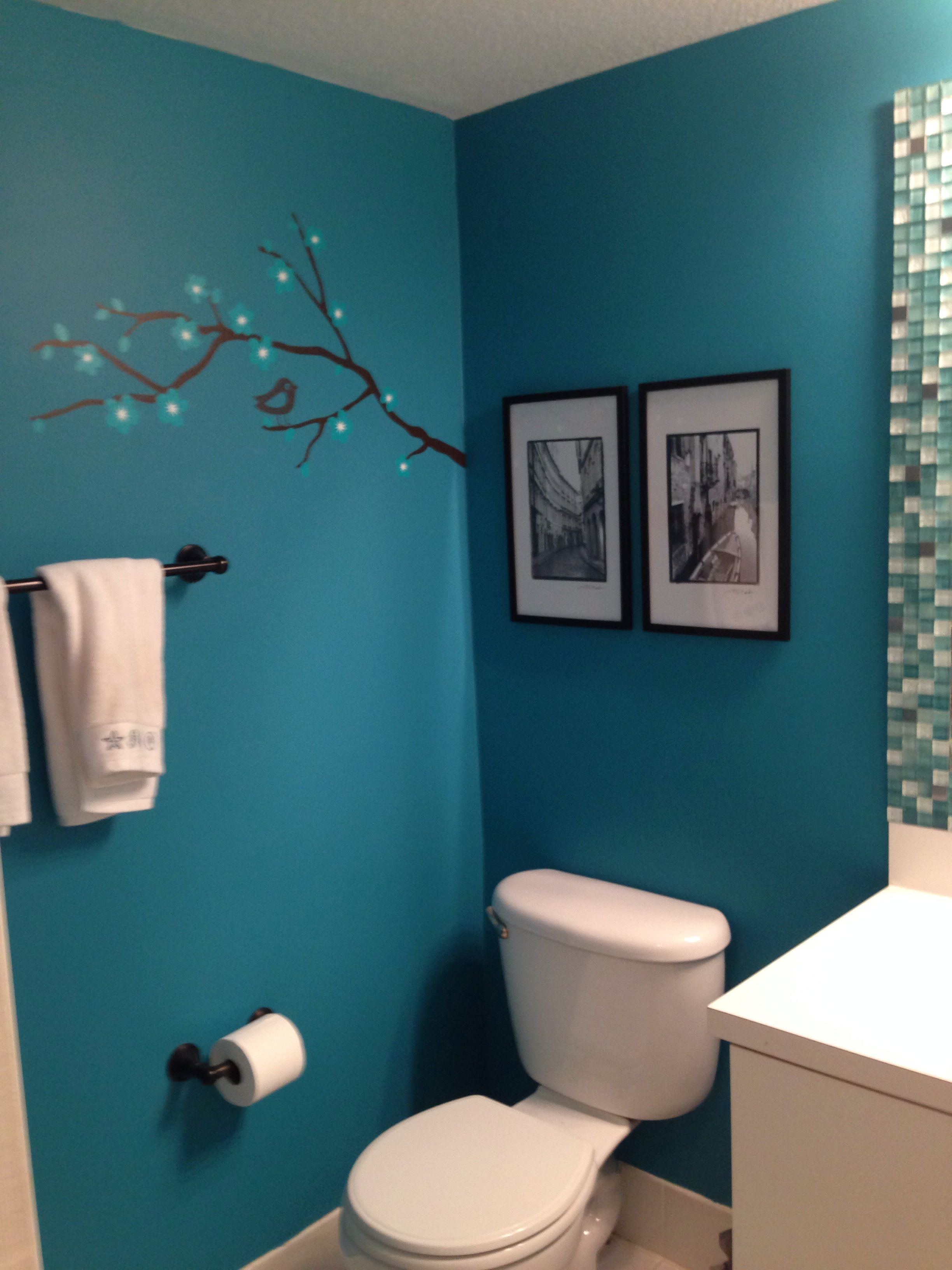 Teal bathroom bathroom pinterest teal black and house for Black and teal bathroom ideas