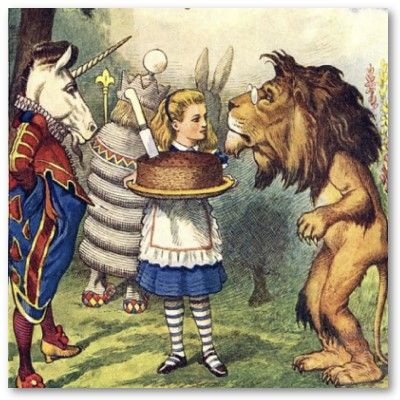 the lion and the unicorn... Lion theme also fits with alice through the looking glass !!!!! make this more important in decoration/ lion theme cake after all?? <3 <3 <3