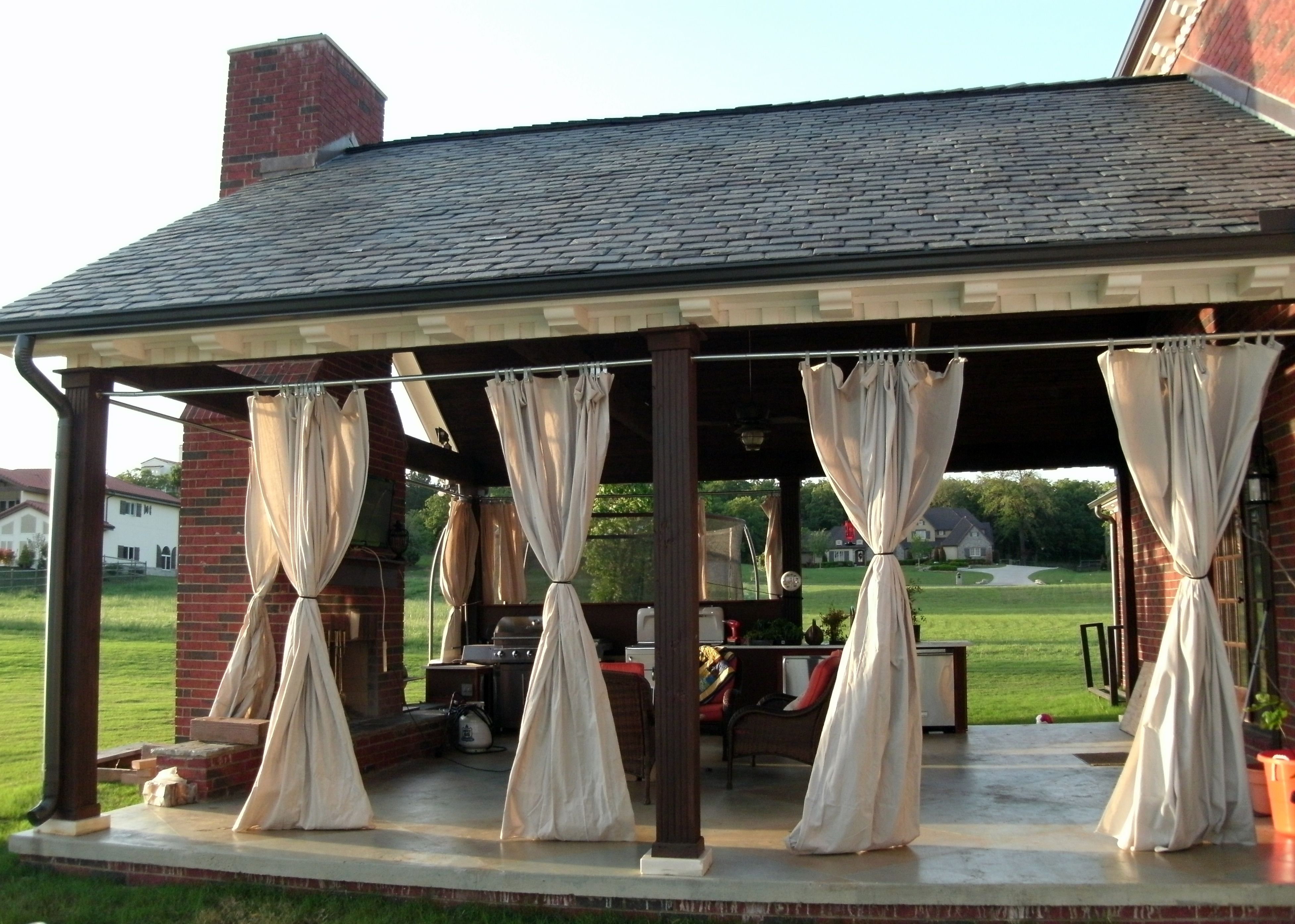 Outdoor Patio Porch Curtains We Made These Out Of Painters 39 Drop Cloth Added Grommets To The