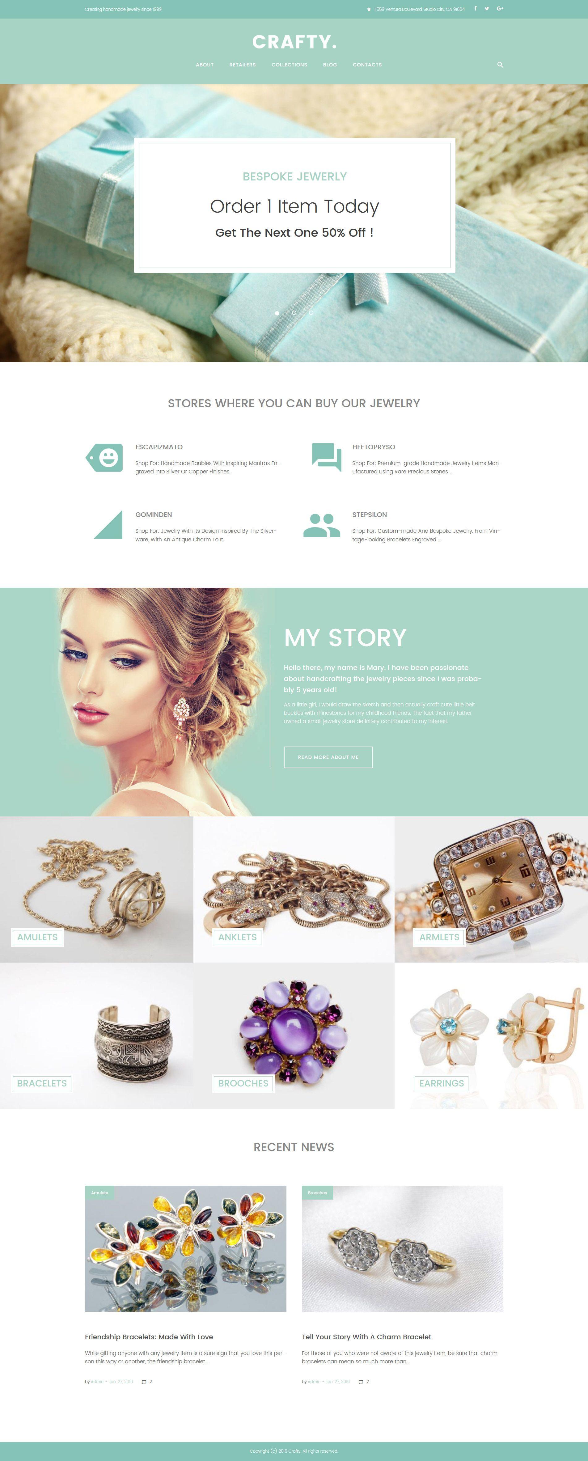 Crafty handmade jewelry artist wordpress theme layout