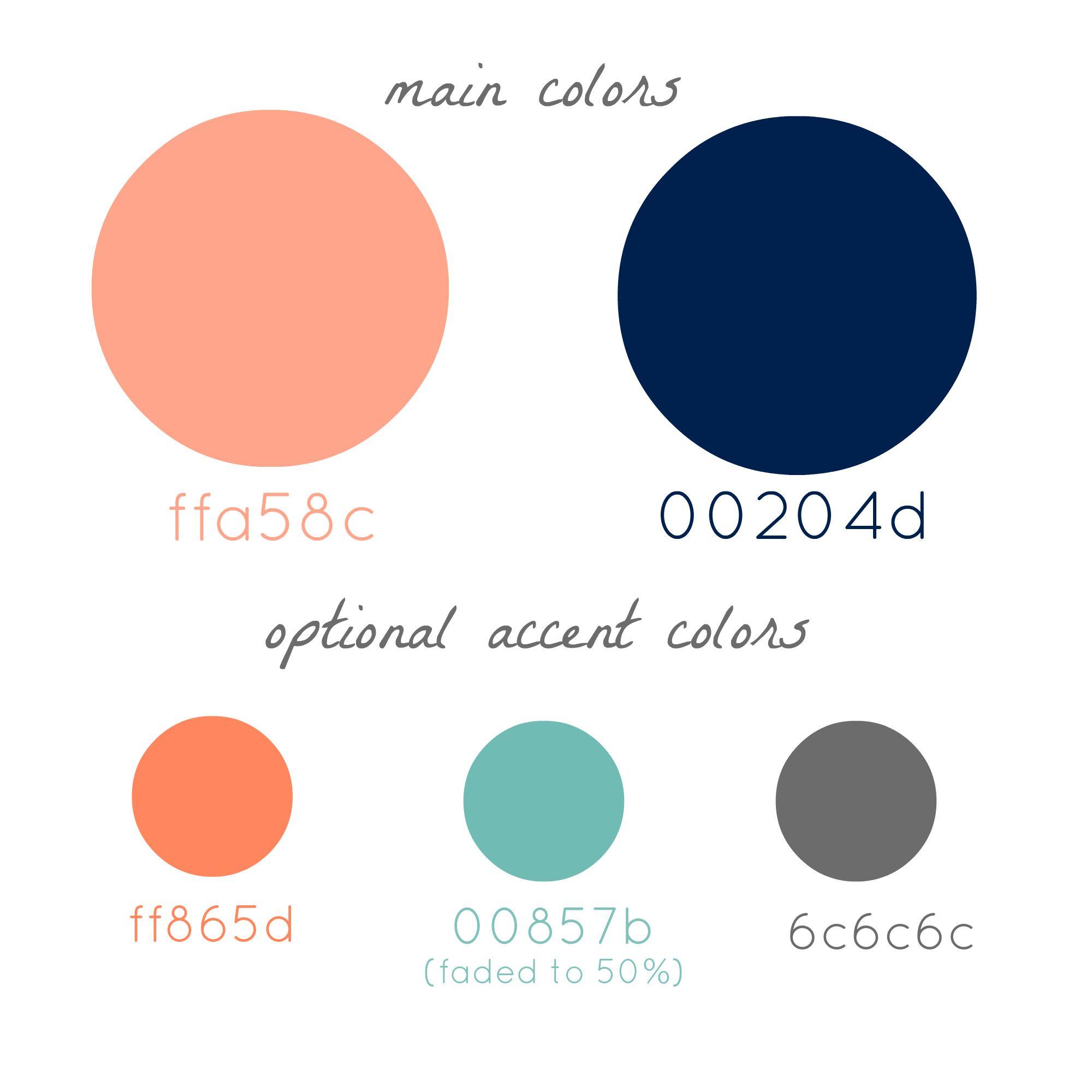 Color Palette Peach Navy Gray Wedding Pinterest