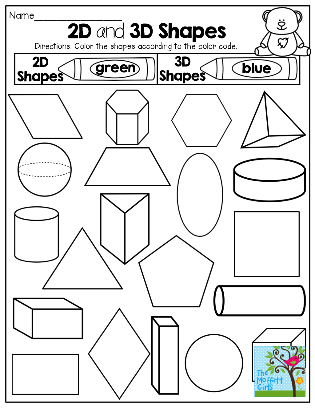 2-D and 3-D Shapes! Color by the code! Tons of fun printables!   Shapes  worksheet kindergarten [ 1325 x 1024 Pixel ]