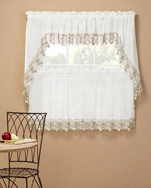 Lillian Macrame Band Kitchen Valance Swags And Tier Curtain Feature A Gorgeous Floral Macrame Band Along The Edge That Will Mak Curtains Valance Tier Curtains
