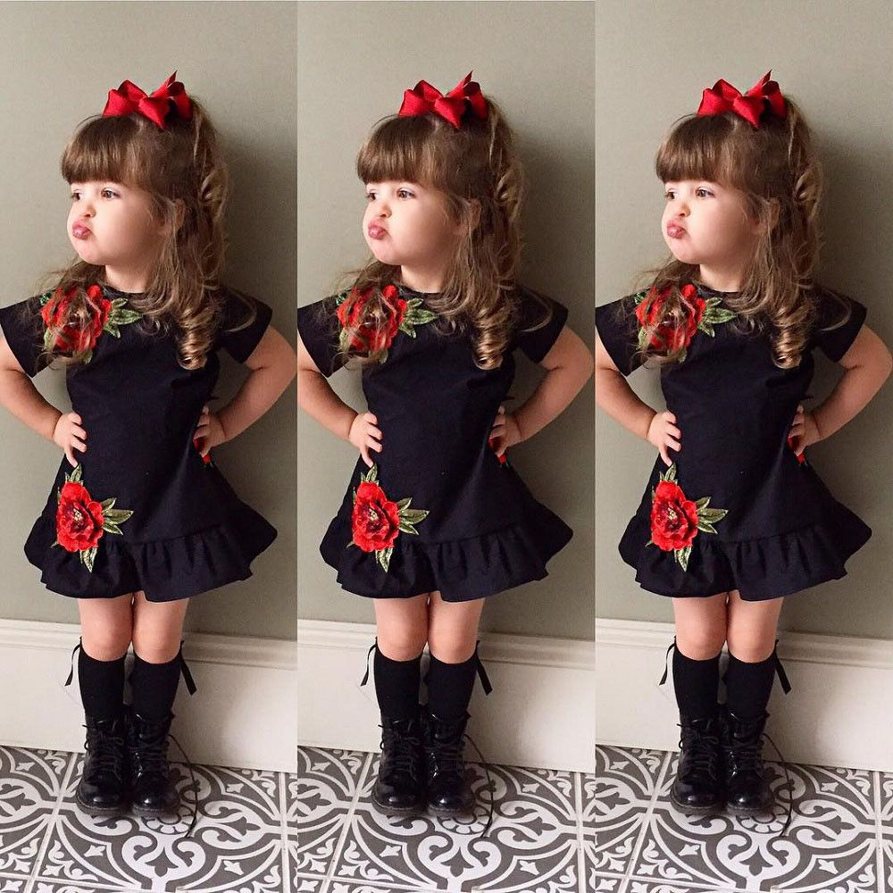 Uk Toddler Kids Baby Girl 3D Flower Summer Party Pageant Dress ...