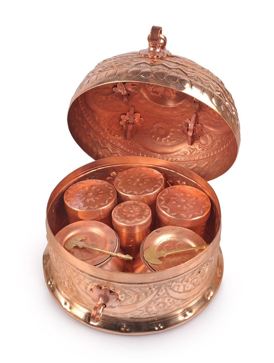 buy copper nakshi paan daan medium online kitchens copper