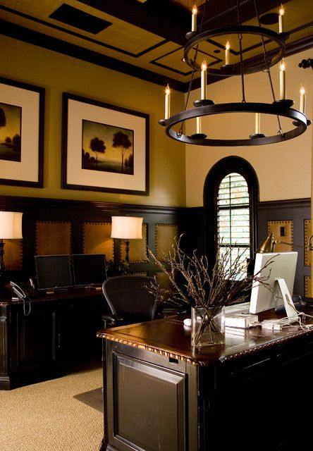 Luxury Office Decorating Ideas For Main Design Of Working Place: Cool  Mediterranean Office Decorating Ideas For Men Integrating Black Painted  Molding Wall ...