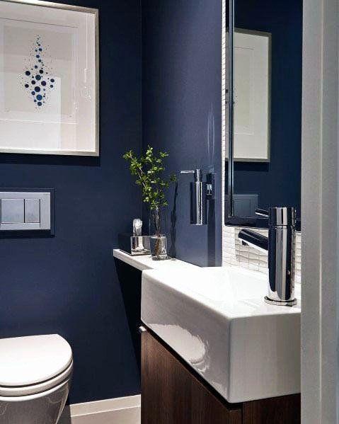 √ 24 navy blue bathroom ideas in 2020  blue bathroom