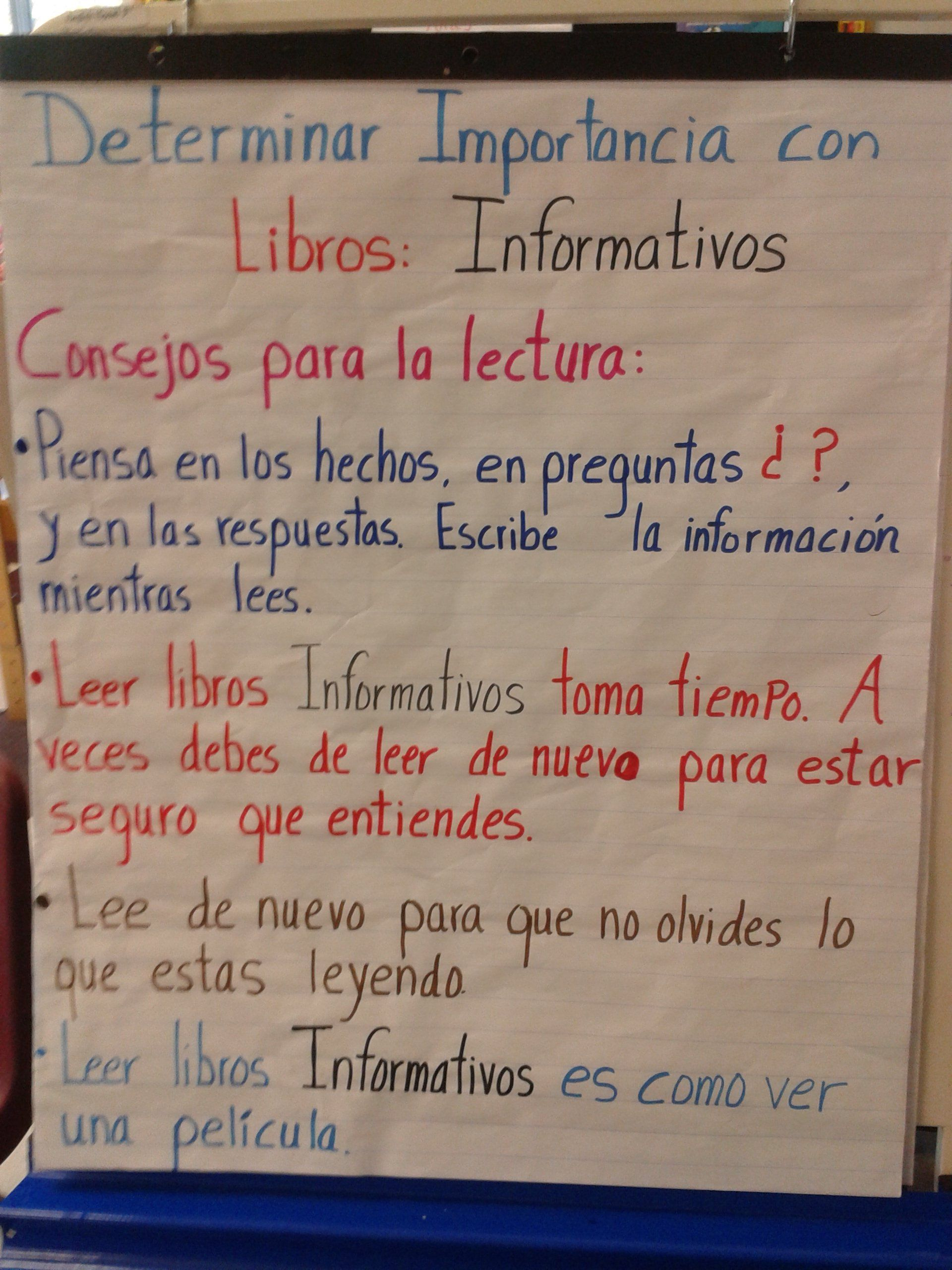 3rd grade writing anchor charts in spanish