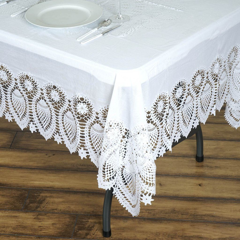 60 X 108 White 10 Mil Thick Lace Vinyl Waterproof Tablecloth Pvc Rectangle Disposable Tablecloth In 2020 Vinyl Tablecloth Table Cloth Waterproof Tablecloth
