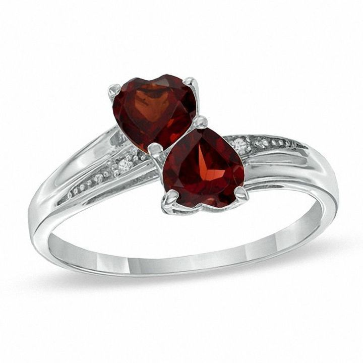 Zales Heart-Shaped Garnet and Diamond Accent Double Heart Ring in Sterling Silver moYtXT