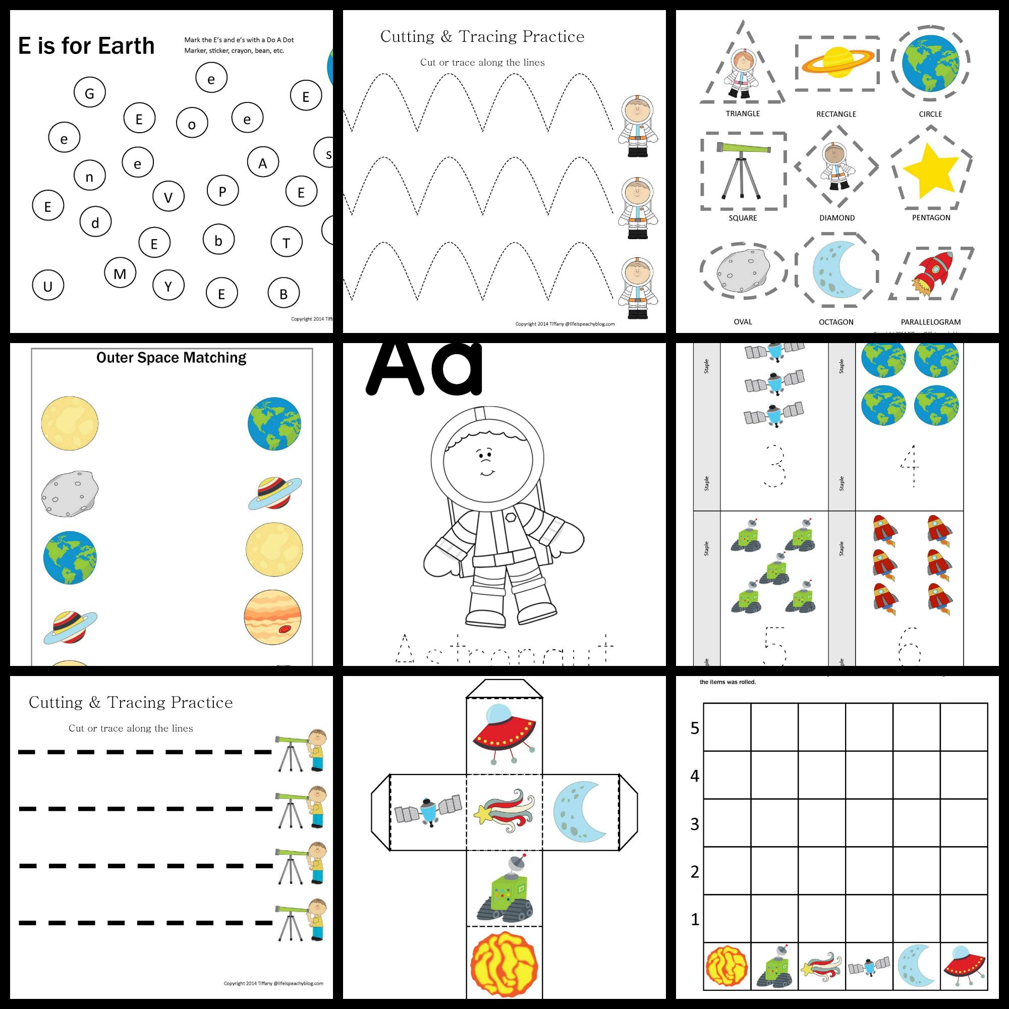 Space Printable Pack For Preschoolers