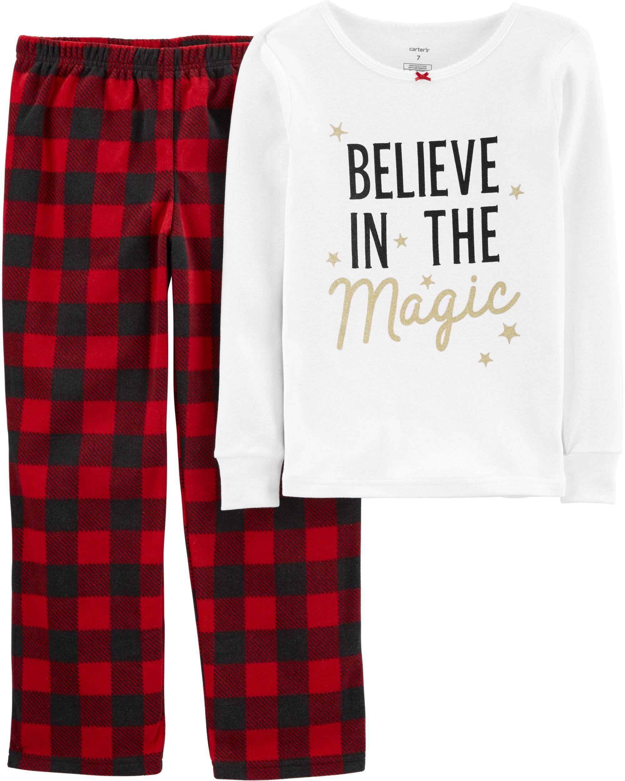 2 Piece Christmas Magic Snug Fit Cotton Fleece Pjs Fleece Pjs Pajama Set Kids Pajamas