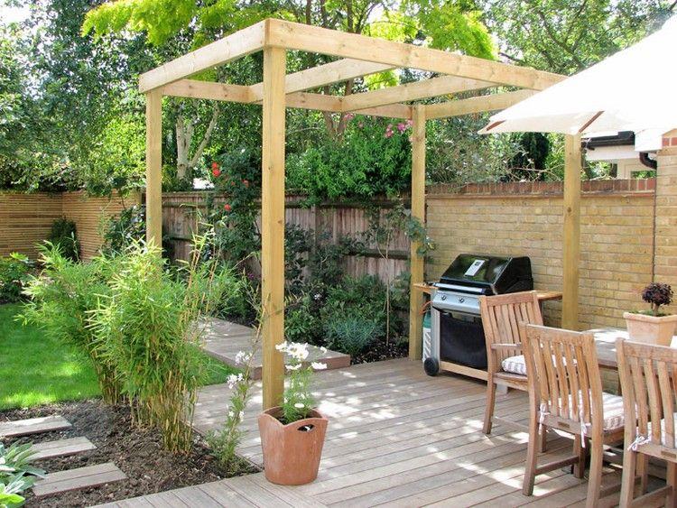 reihenhausgarten mit grillplatz und pergola gestalten | garten, Gartenarbeit ideen