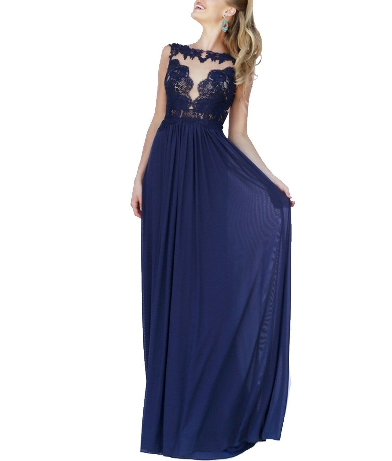 Queen club backless scalloped sleeveless royal blue prom dress long