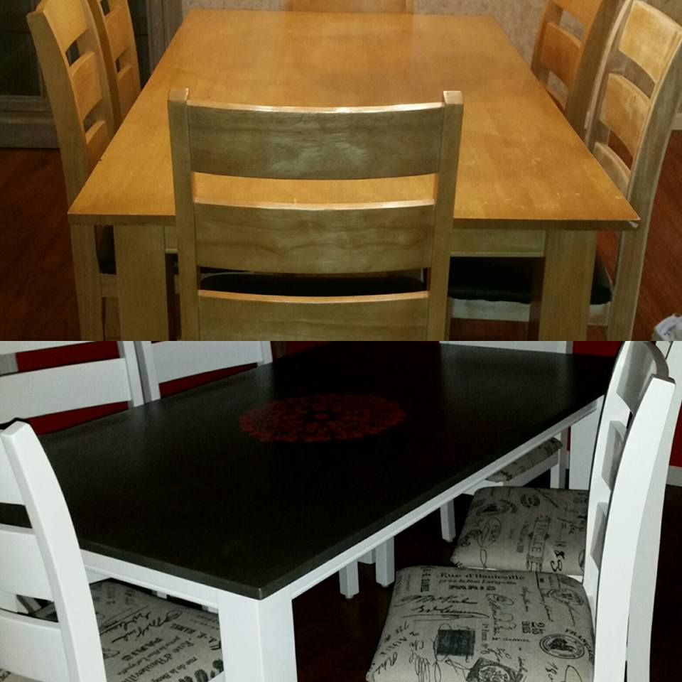 Antique white furniture paint after I sanded down the table & chairs. Top is Ralph Lauren Metallic Silver (2 coats). Middle is stencil. I did apply a clear coat since this is a kitchen table and it turned out great. Wipes clean and doesn't chip.