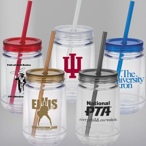 Promotional Mason Jar 15 5 Oz Double Wall San Plastic Colored Screw On Lid And Matching Straw 12646344 Mason Jars Jar Swag Ideas