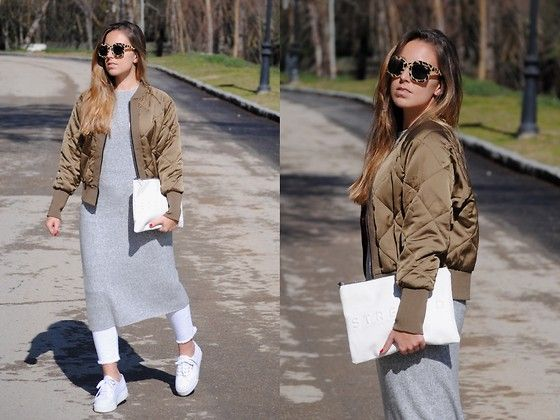 Get this look: http://lb.nu/look/8076726  More looks by Claudia Villanueva: http://lb.nu/ctrendencies  Items in this look:  Pull & Bear Sunglasses, Newchic  Jacket, Zara Clutch, Zara Dress, Zara Jeans, Superga Sneakers   #casual #chic #street #knitmididress #quiltedbomberjacket #winter #outfit #look #superga