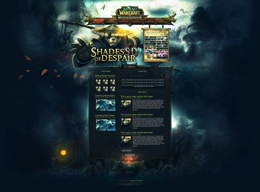 Shades Of Despair WoW Guild Template By InsDev