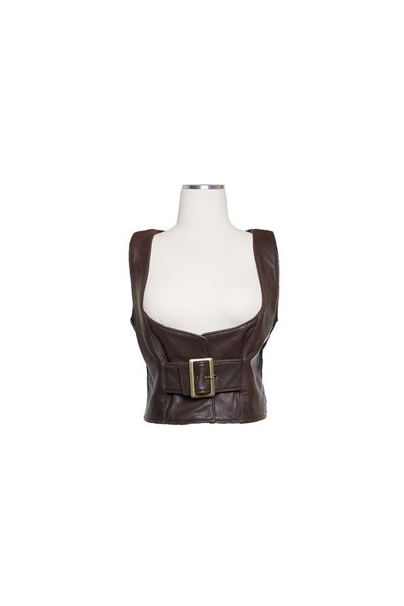 Brown lambskin leather waistcoat