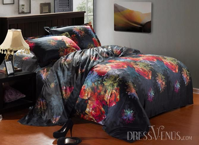 US$194.99 Noble Black 4 Piece Pink Florals and Wash Print Comforter Sets with Cotton. #Bedding #and #Sets #Noble