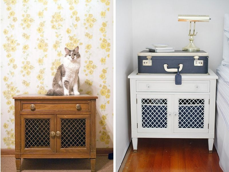 Relooker une table de chevet ancienne en style marin meuble relooke - Relooker une table de salon ...