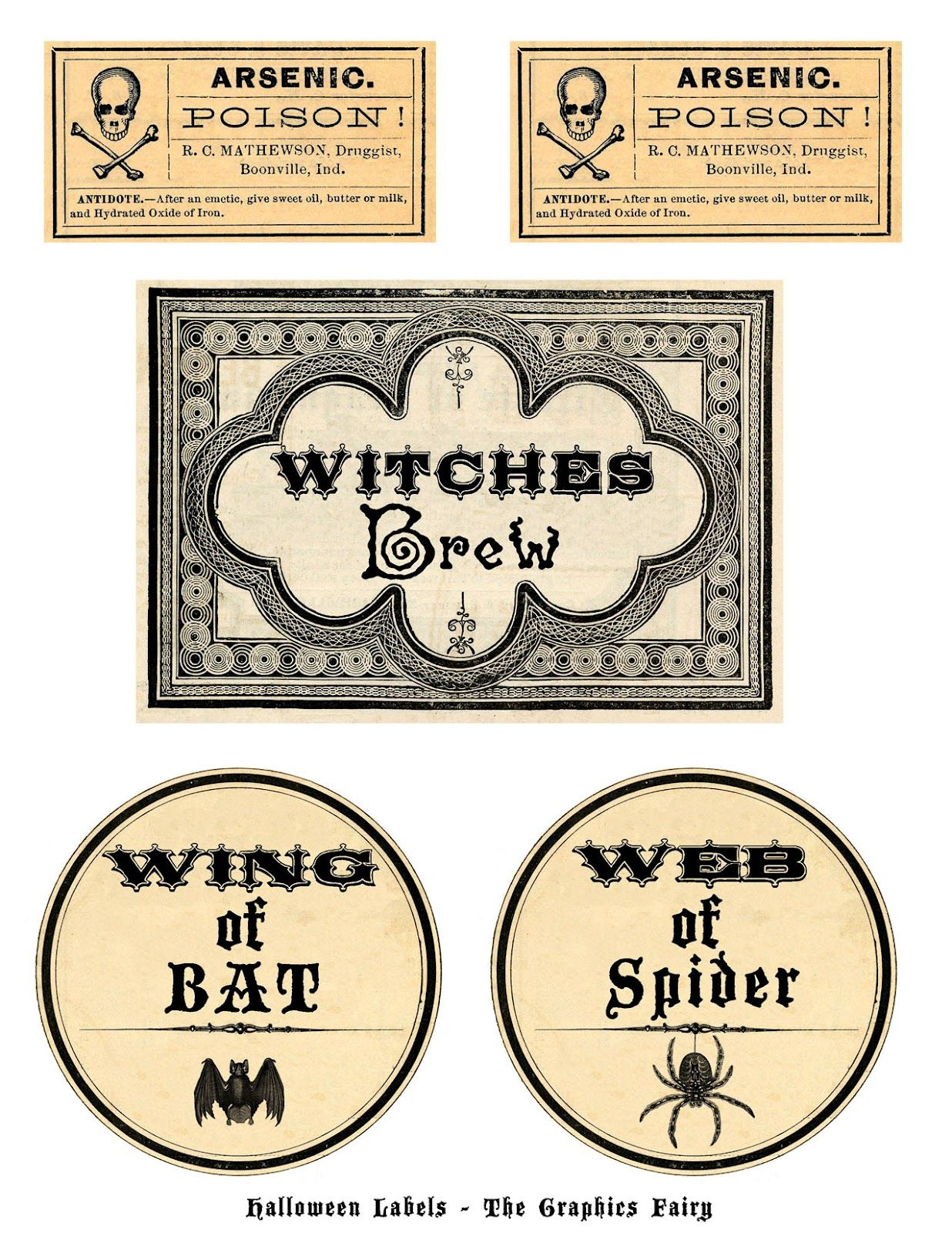 free printable halloween labels potions