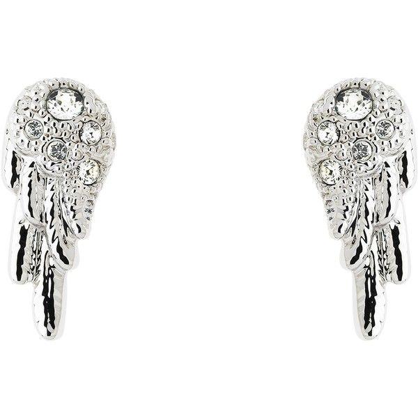 Cachet Wing Swarovski Crystal Stud Earrings, Silver (3.335 RUB) via Polyvore featuring jewelry, earrings, swarovski crystals jewelry, silver jewellery, stud earrings, swarovski crystal jewelry и silver stud earrings