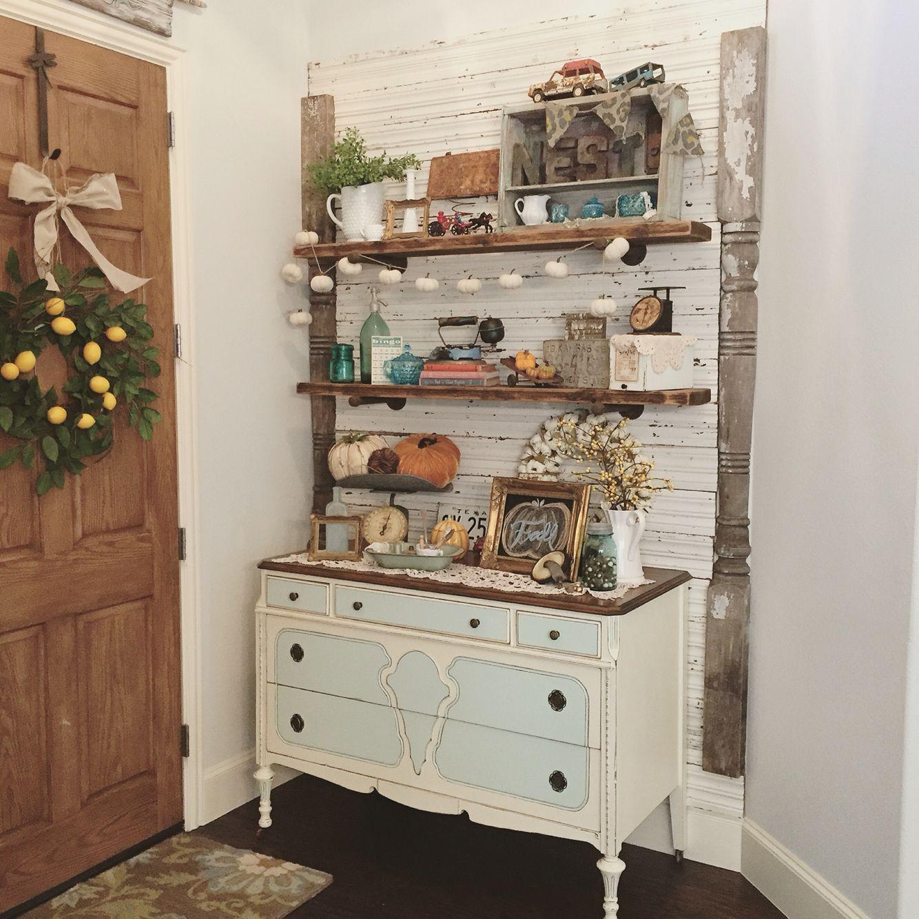 Dresser Drawer Shelves Entry Way Shiplap Wall Repurposed Dresser And Floating Shelves