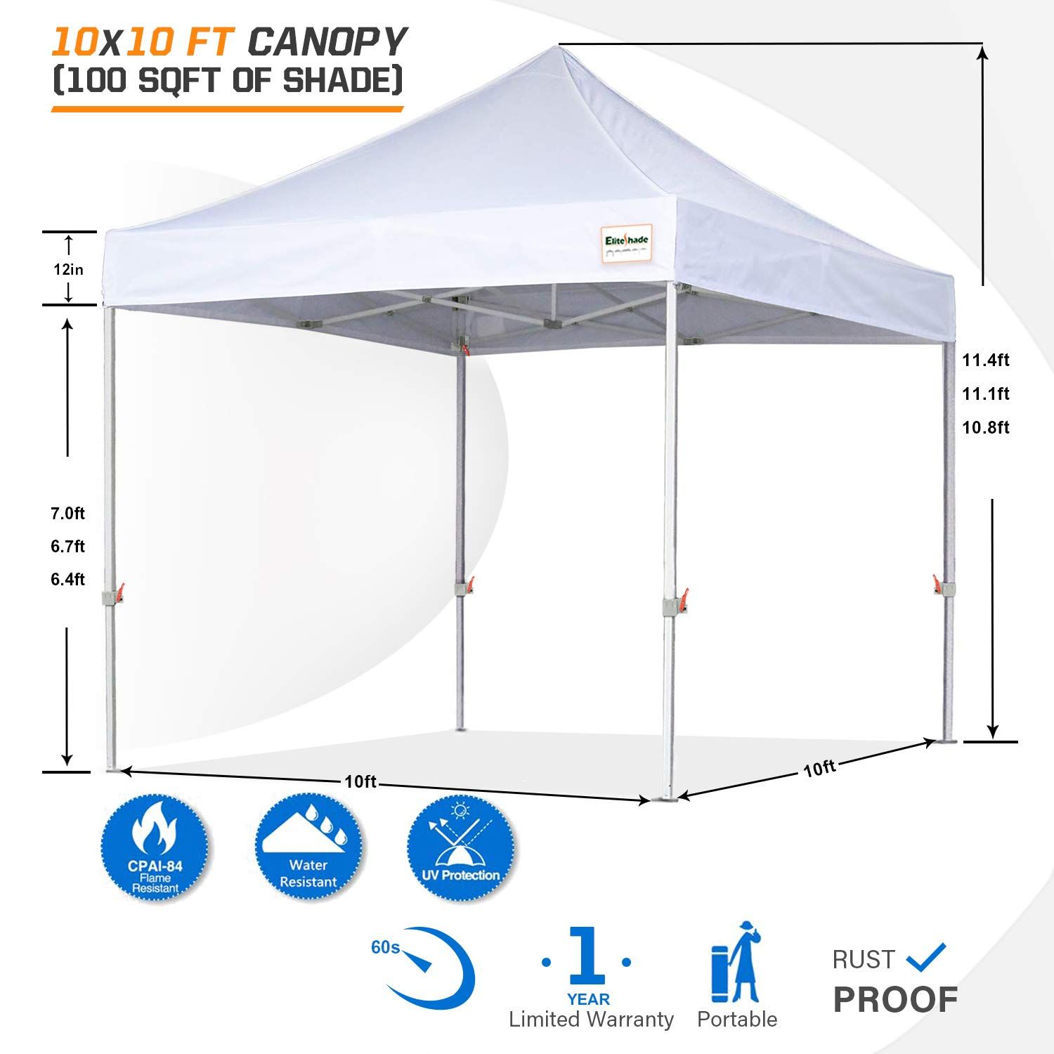 Eliteshade 10 X10 Commercial Ez Pop Up Canopy Outdoor Instant Canopies Party Tent Sun Shelter With Removable Sidewall In 2020 Canopy Outdoor Party Tent Instant Canopy