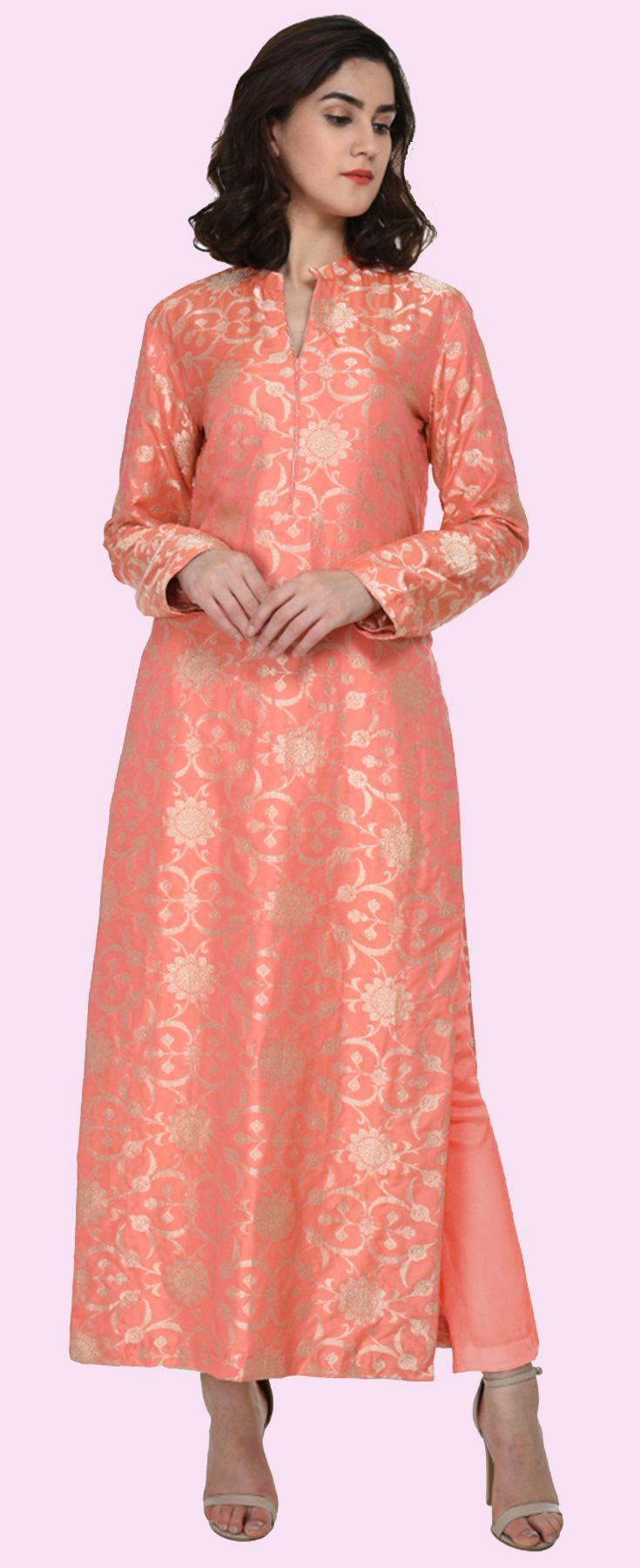 Peach Zari Jamawar Banarasi Hand Woven Pure Silk Suit  46684c722