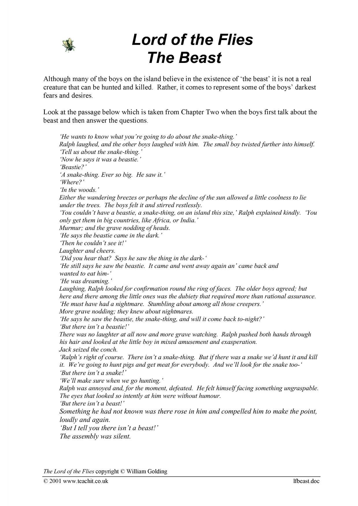 Body Story The Beast Within Worksheet Answers