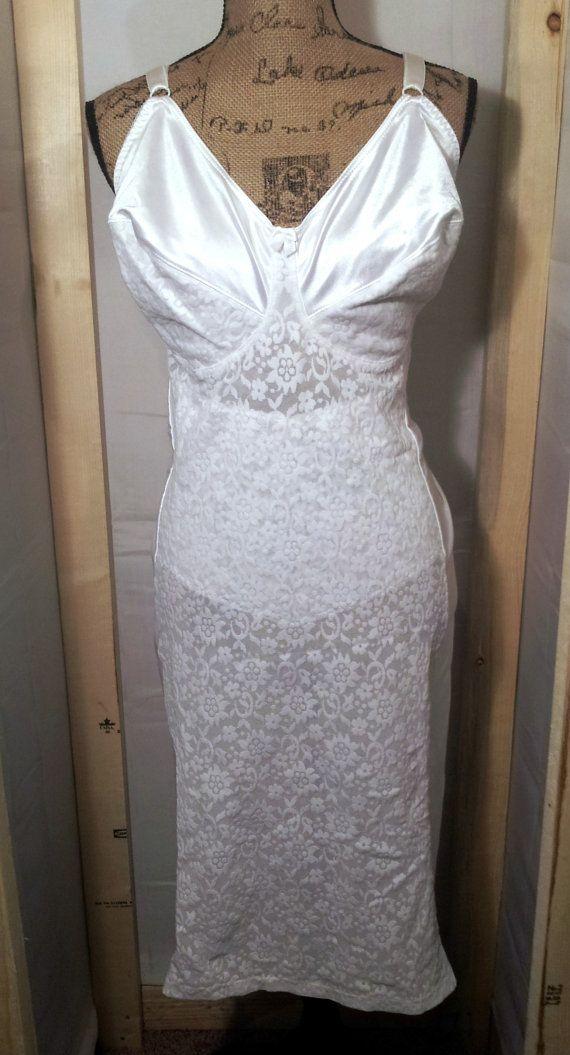 bd35525440632 1960s Crownette Girdle Shapewear Full Slip Lingerie Vintage Bridal ...