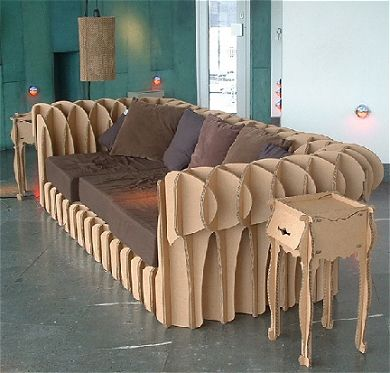 Corrugated cardboard is so sturdy that you can even create furniture out of it!