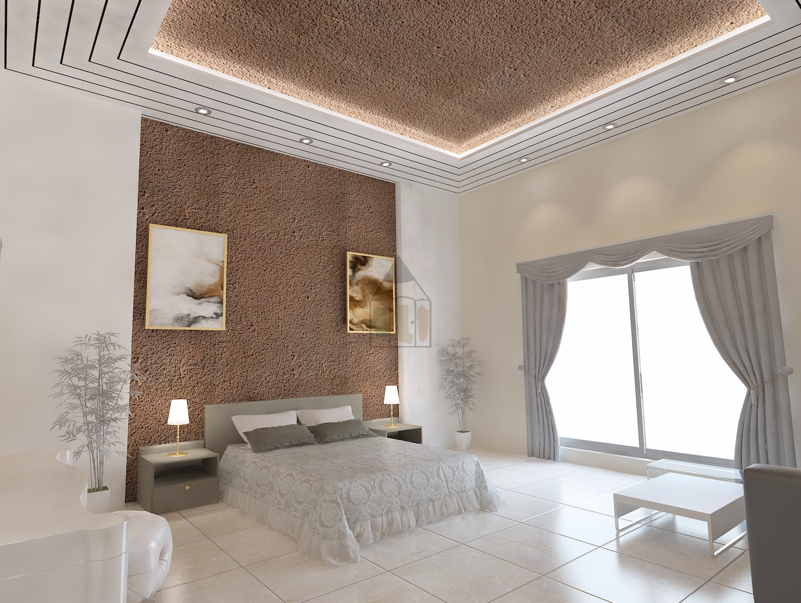 ceiling design of bedroom in islamabad with complete decor or