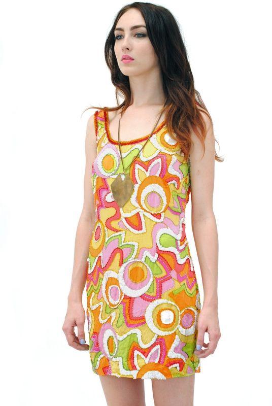 Marlo Silk Sequin Modern Art Dress