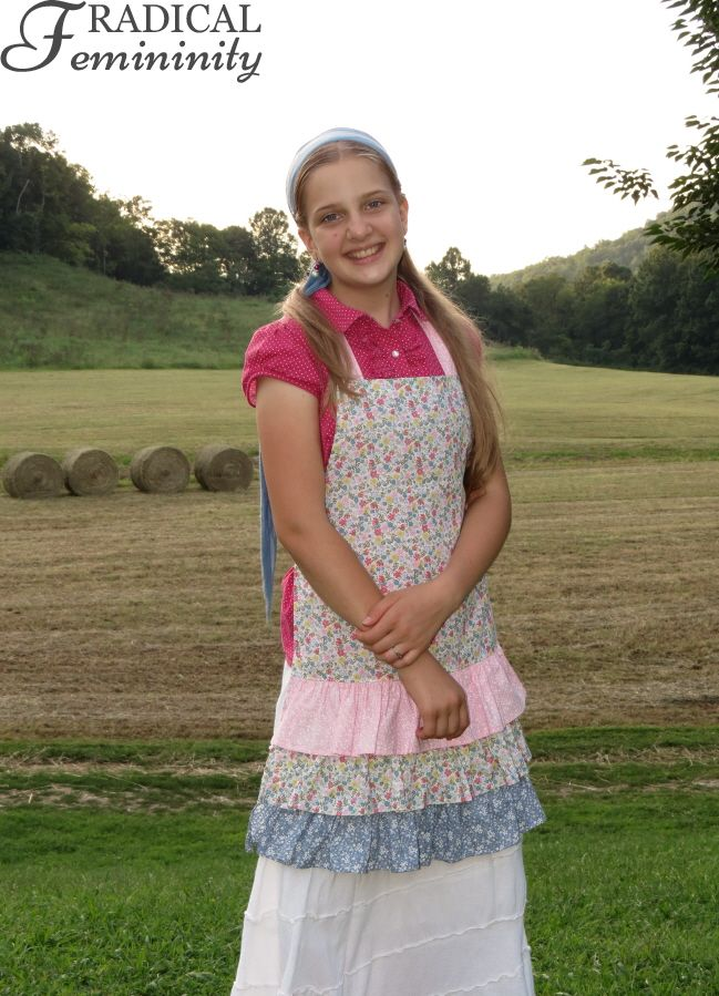 Lydia & Outfit White Skirt, Pink Polka Dots and Classy Country Apron is part of Classy Country Clothes - Lydia got her blouse from a thrift store and borrowed her skirt from Abigail  It used to be that she didn't share clothes with us girls but that's changing!