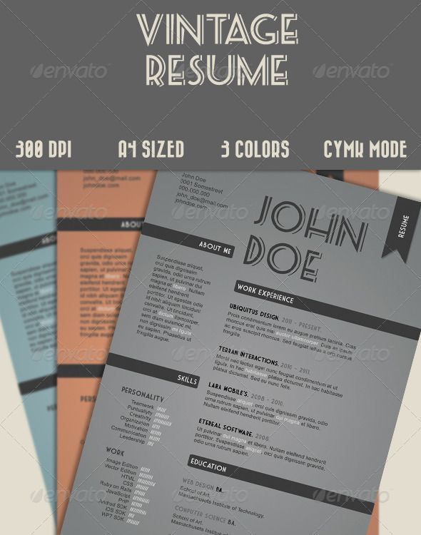 Vintage Style Resume In Drab Colors. :)