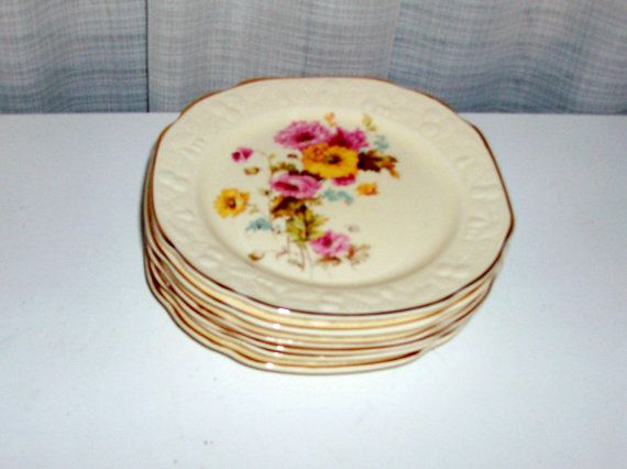 Set of Six Old Fashioned Rose Dessert Plates by Crooksville