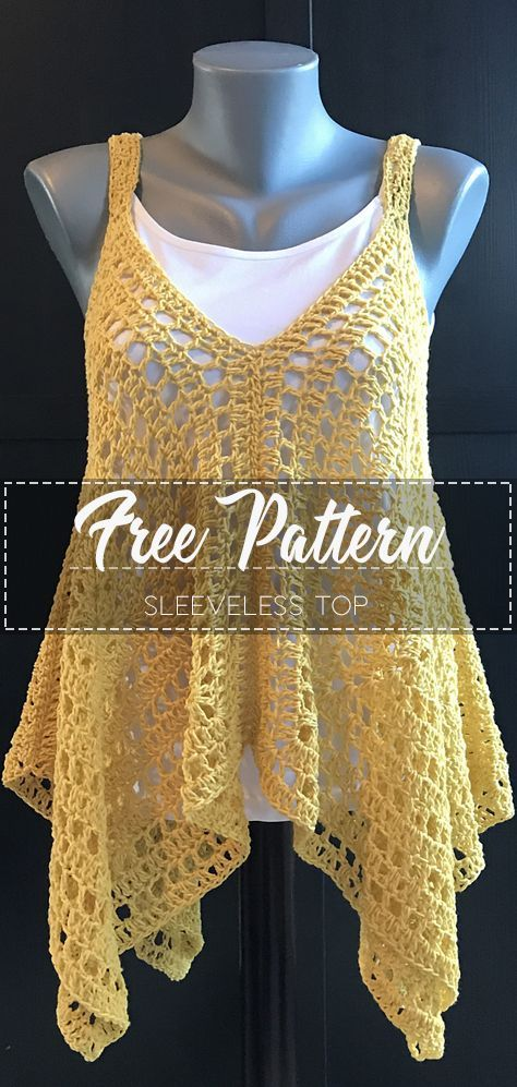 Sleeveless Top – Pattern Free – Easy Crochet -