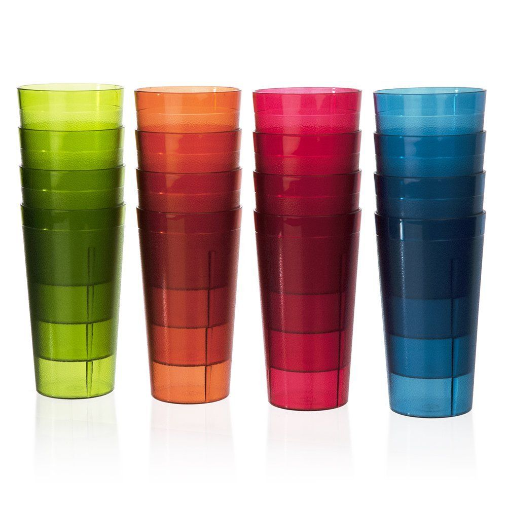 12a3011d00fc Cafe Break-Resistant Plastic 20oz Restaurant-Quality Beverage Tumblers |  Set of 16 in 4 Assorted Colors.