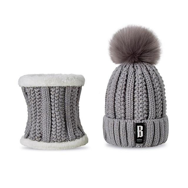 d369a6be59f 2018 New Pom Poms Winter Hat for Women Fashion Solid Warm Hats Knitted  Beanies Cap Brand Thick Female Cap Wholesale