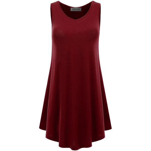 d9045be462f Biagio Burgundy Flare-Hem Side-Pocket Sleeveless Tunic ( 12) ❤ liked on