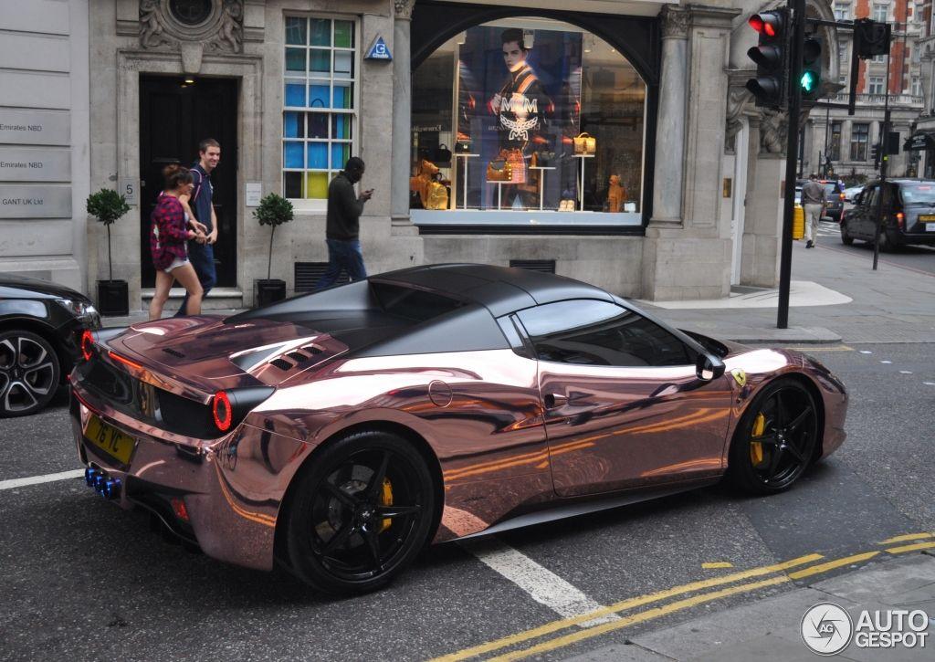 Amazing Car Spotted In London (ferrari 458 Spider) #Ferrari #Spider #Gold