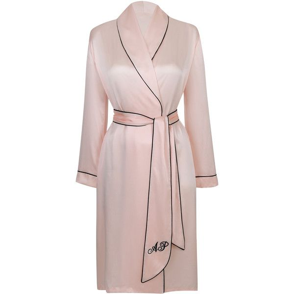 Agent Provocateur Classic Dressing Gown Pink (€370) ❤ liked on Polyvore featuring intimates, robes, lingerie, pajamas, dresses, agent provocateur, christmas, festive favourites, pink and silk dressing gown