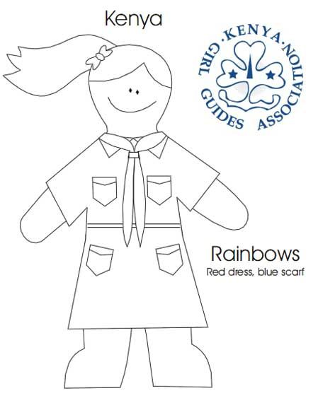 Kenya Rainbows Colouring Sheet World Thinking Day Rainbow