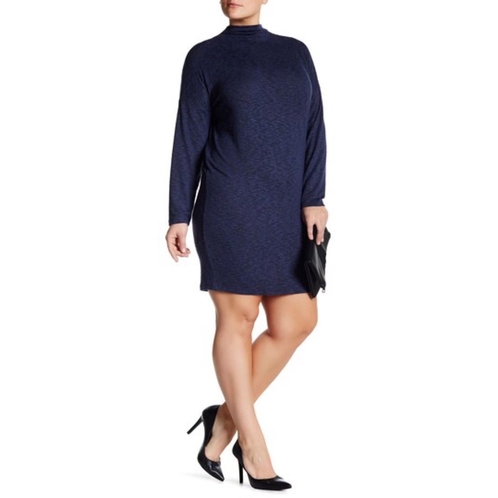 Long sleeve funnel neck dress plus size final products
