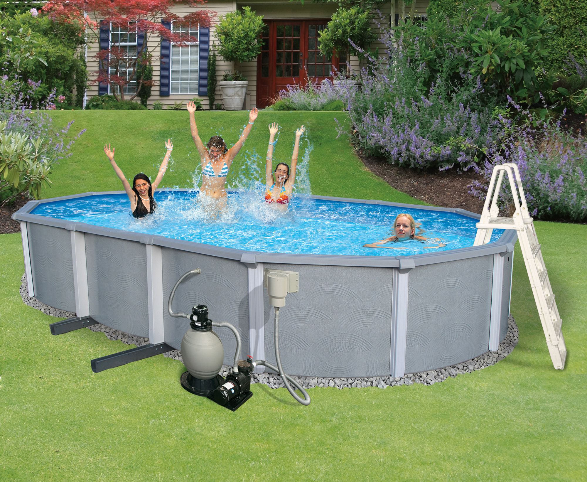 Free 2 Day Shipping Buy Blue Wave Zanzibar Oval 54 In Deep 8 In Top Rail Metal Wall Swimming Pool Package At Walma Oval Pool Above Ground Pool In Ground Pools