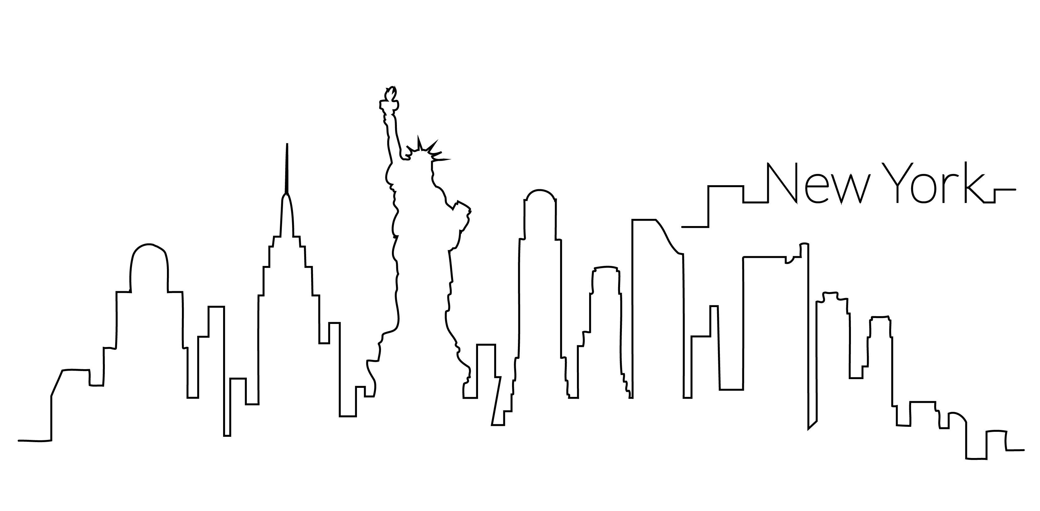 New York Skyline Outline New York Painting New York Tattoo New York Skyline Silhouette