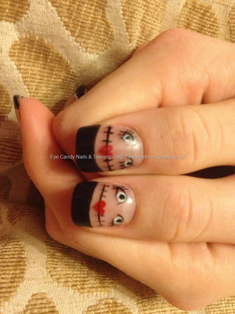Black French polish with rag doll or scarecrow nailsfreehand nail ...
