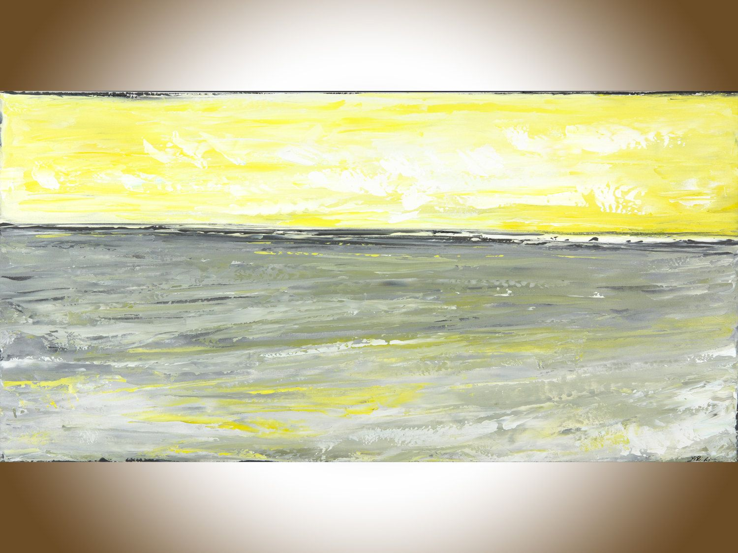 Yellow grey abstract painting seascape painting original art ...
